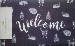 Fußmatte Türmatte Welcome Katzen 74 & 44 cm Clayre & Eef