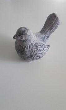 Vogel Grau Schwarz Sitzend 8,5 x 12 cm