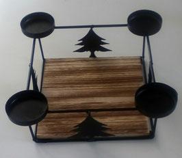 Tablett Teelichthalter Tanne Weihnachten Advent Holz Metall Schwarz