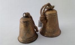 2 Glocken Gold Shabby Zink Seil Aufhängung Weihnachten 16 und 19 cm