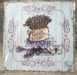 Blechschild Schild Lavendel Schmetterling Blau Vintage