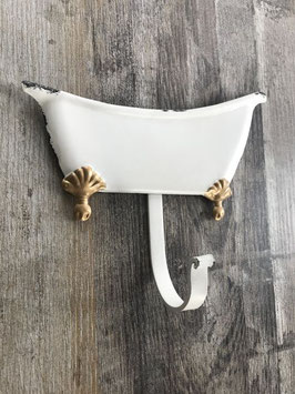 Haken Badewanne Metall Weiß Shabby Gold Meander 19 x 16 cm
