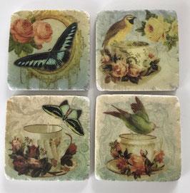 4 Untersetzer Keramik Vögel und Schmetterlinge 10 x 10 cm Meander