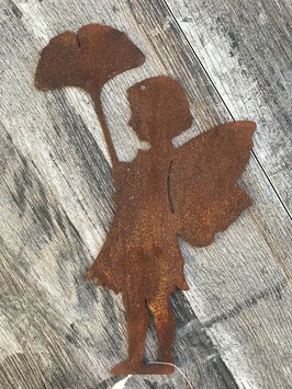 Elfe Gingko Metall Rost Aufhänger 20 x 13 cm