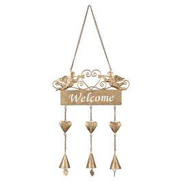 Türschild Welcome Engel Glocken Eisen Gold Clayre & Eef 22 x 48 cm