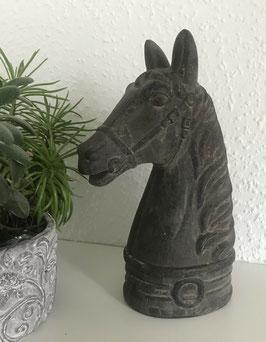 Skulptur Büste Pferd Braun Keramik 24,5 cm