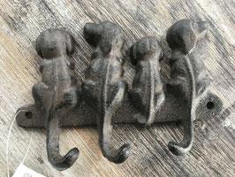 Haken 3er Hunde 4 Gusseisen 13,5 x 9 cm