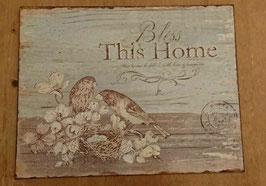 """Blechschild Schild Vintage  Vögel Nest Spruch: """"Bless This Home"""""""