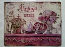 Blechschild Vintage Home Collektion Rosen 33 x 25