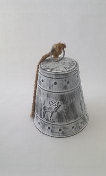 Glocke Elch Weiß Grau Shabby Seil Aufhängung Glocke 22 cm Weihnachten Advent