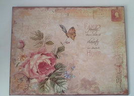 Blechschild Bild Rosen Beige Shabby 33 x 25 cm