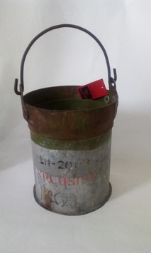 Eimer Eisen Aufschrift Explosive  Armee Grün H: 28 cm D: 19 cm