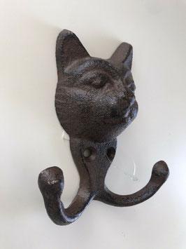 Haken Garderobenhaken Katze Gusseisen Antiklook 9,5 x 10,5 cm
