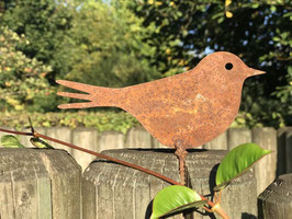 Vogel Zaunhocker Rost 13 x 6 cm
