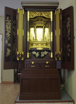 茶色乾漆仏壇15板三方開き