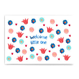 Postkarte *welcome little one* (Blumen)