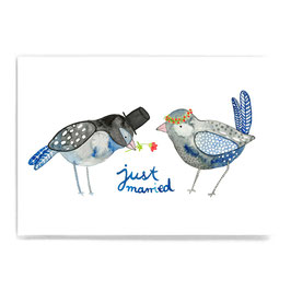 Postkarte *Just Married* (Vogelhochzeit)