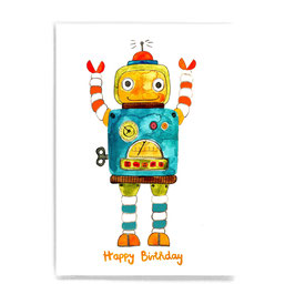 Postkarte *Happy Birthday* (Roboter)