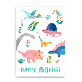Postkarte *Happy Birthday* (Dinos)