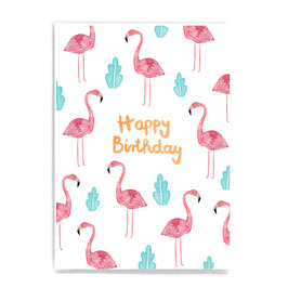 Postkarte *Happy Birthday* (Flamingo)