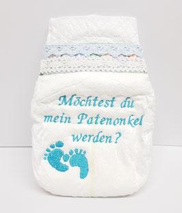 Bestickte Windel für Paten / Taufe