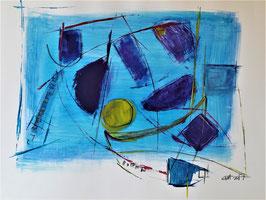 Formenspiel in Blau, 48 x 36 cm