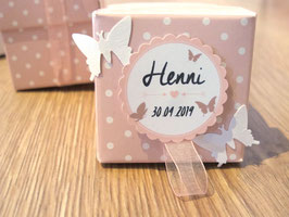 """5 Taufbonbon-Schachteln """"Rosa & Schmetterlinge oder Herzen"""" mit je 5 Taufmandeln"""