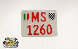 CH-Schild Motorrad 18 x 14cm Weiss/Rot, mit spez. Wappen