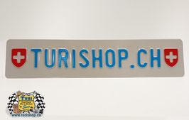 CH-Schild Langformat 50 x 11cm Weiss/Blau, mit Wappen kleine Schrift
