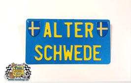 CH-Schild Hochformat 30 x 16cm Blau/Gelb, kleine Schrift, 2 spez. Wappen