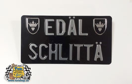 CH-Schild Hochformat 30 x 16cm Schwarz/Chrom, kleine Schrift, 2 spez. Wappen