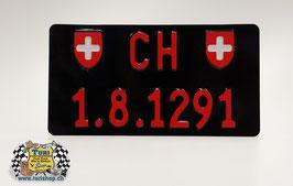 CH-Schild Hochformat 30 x 16cm Schwarz/Rot, kleine Schrift