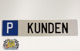 P-Schild Langformat 50 x 11cm Weiss/Schwarz, grosse Schrift