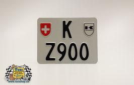 CH-Schild Motorrad 18 x 14cm Weiss/Schwarz, mit 1 spez. Wappen