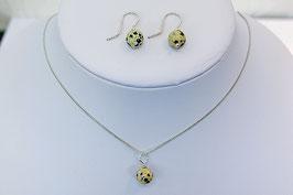 Set oorbellen met hanger dalmatiër jaspis