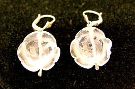 Oorbel bergkristal roosjes