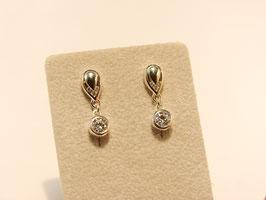 Oorhanger glanzend zilver met zirkonia's