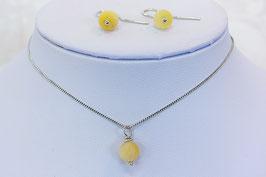 Set oorbellen met hanger gele calciet