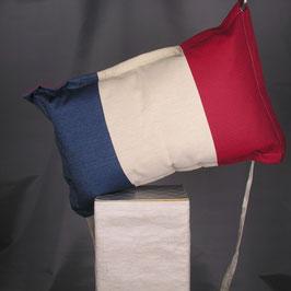 004 - Frankreich Kissen mit Segeltuchelementen - UNIKAT