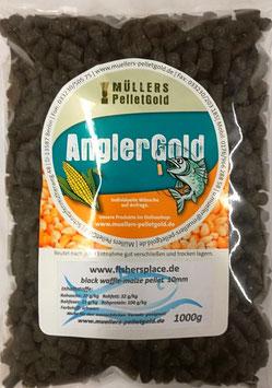 1 Kg AnglerGold Black Waffle- Maize Pellet 10mm