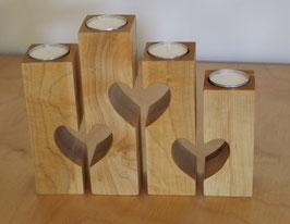 Teelichthalter Herz 4-teilig aus Ahorn oder Esche