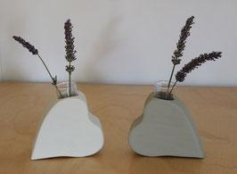 Herz-Vasen Set, weiß- grau