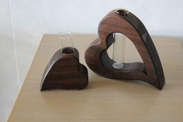 2er Set Herz-Vasen Nussbaum