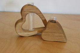 2er Set Herz-Vasen Eiche