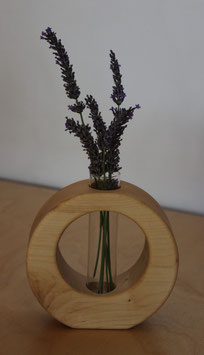 Massivholz-Vase rund asymmetrisch