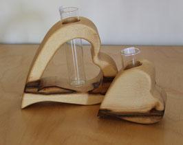2er Set Herz-Vasen aus Ahorn