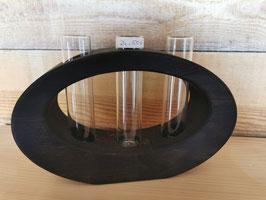 Massivholz-Vase 3-fach, oval, Räuchereiche