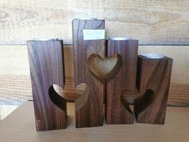 Teelichthalter Herz aus Nussbaum