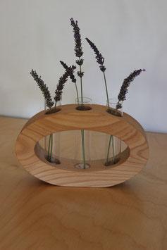 Massivholz-Vase 3-fach, oval