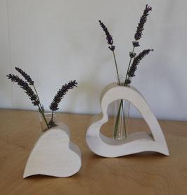 2er Set Herz-Vasen weiß